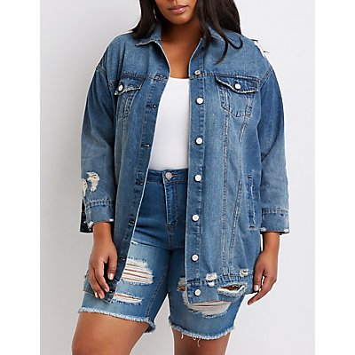 Plus Size Refuge Longline Denim Jacket