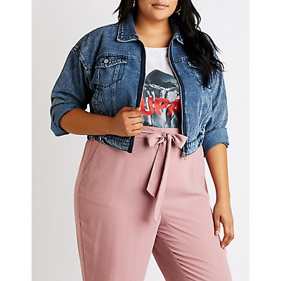 Plus Size Refuge Zip Up Cropped Denim Jacket
