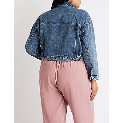 Plus Size Refuge Zip Up Cropped Denim Jacket