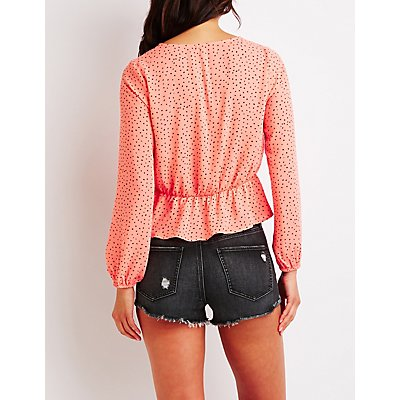 Dotted Cinched Crop Top