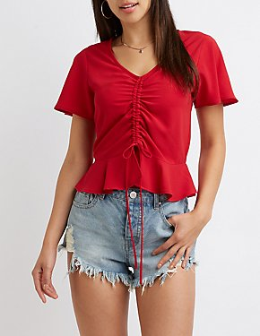 Kimono Sleeve Ruched Front Top