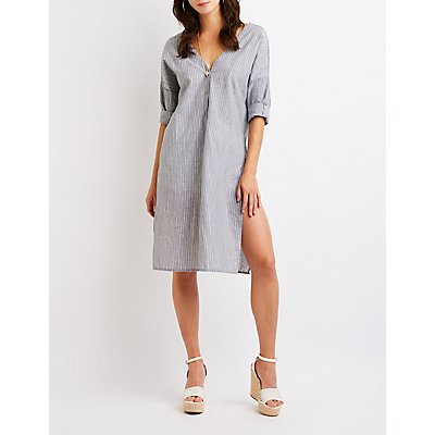 Striped Button Up Tunic