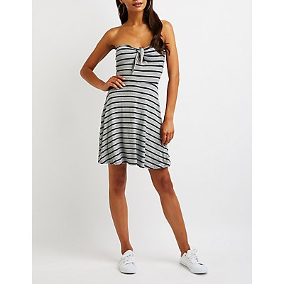Stripe Strapless Skater Dress