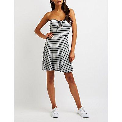 Stripe Strapless Skater Dress
