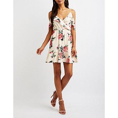 Floral Wrap Cold Shoulder Dress