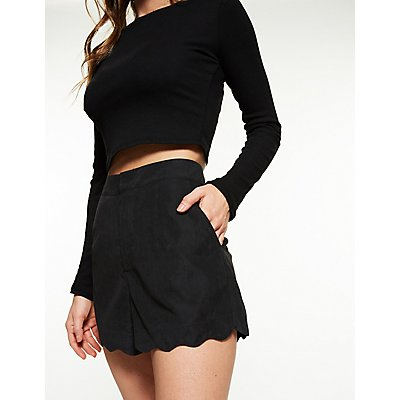 Scalloped Faux Microsuede Shorts