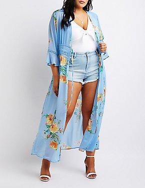 Plus Size Crochet Floral Longline Kimono