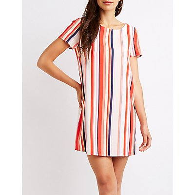 Striped Caged Back Shift Dress