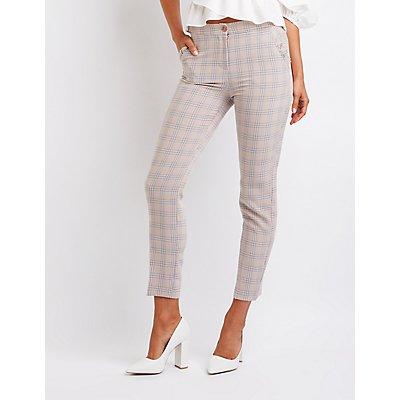 Ruffle Detailed Plaid Trousers