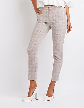 Ruffle Detailed Plaid Trousers