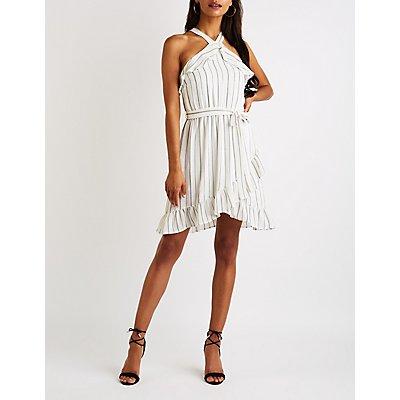 Striped Ruffle Trim Bib Neck Dress