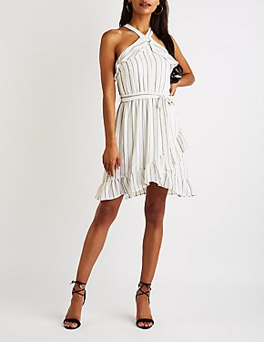 Striped Ruffle Trim Bib Neck Dress