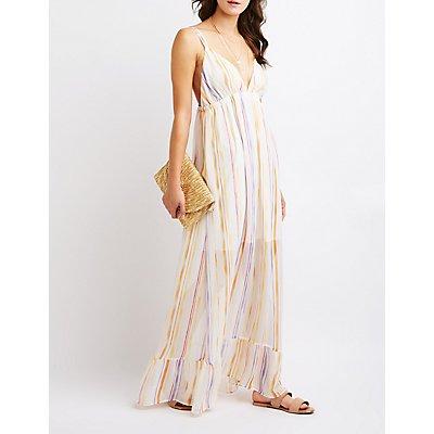 Striped Ruffle Maxi Dress