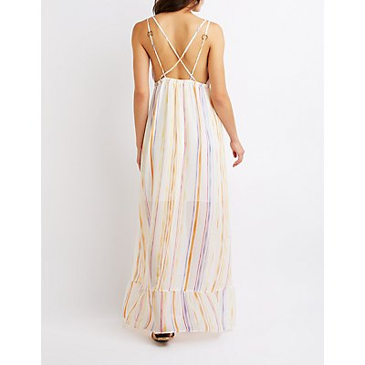 Striped Ruffle Maxi Dress