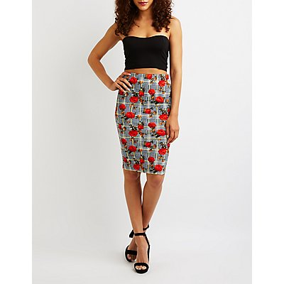 Floral Houndstooth Bodycon Skirt