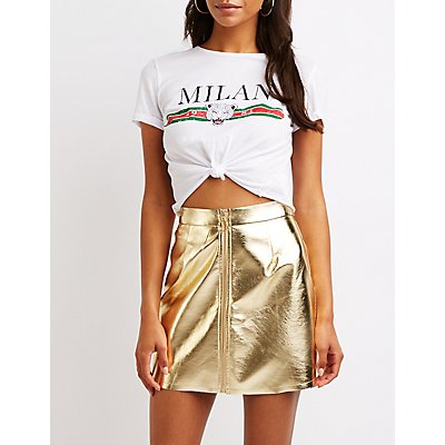 Faux Leather Zip Up Skirt