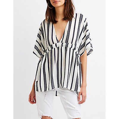 Striped Tie Waist Tunic Top by Charlotte Russe