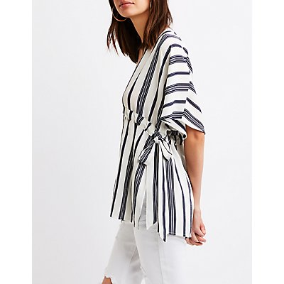 Striped Tie-Waist Tunic Top