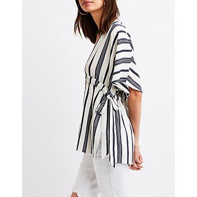 Striped Tie-Waist Tunic Top
