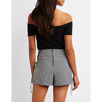 Gingham Lace Up Shorts