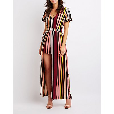 Striped Keyhole Maxi Romper