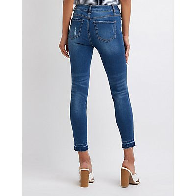 Destroyed Mid Rise Skinny Jeans
