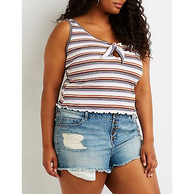 Plus Size Striped Tie Front Tank Top