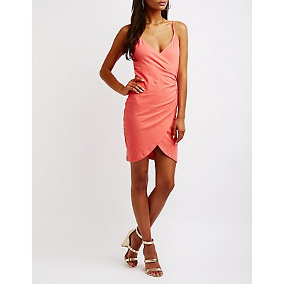 Ruched Surplice Wrap Dress