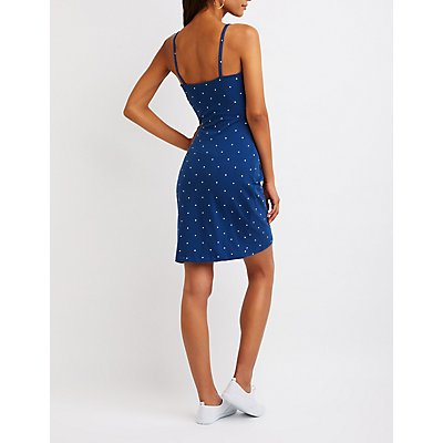 Polka Dot Wrap Bodycon Dress