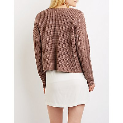 Cable Knit Open Front Cardigan