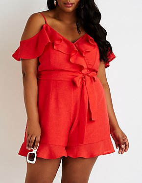 Plus Size Ruffle-Trim Cold Shoulder Romper