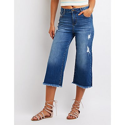 Destroyed Mid Rise Wide Leg Jeans
