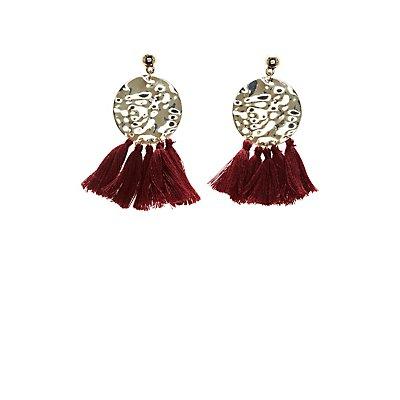 Hammered Tassel Drop Earrings