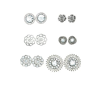 Floral & Rhinestone Stud Earrings - 6 Pack