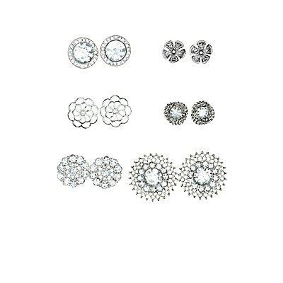 Floral & Rhinestone Stud Earrings - 6 Pack