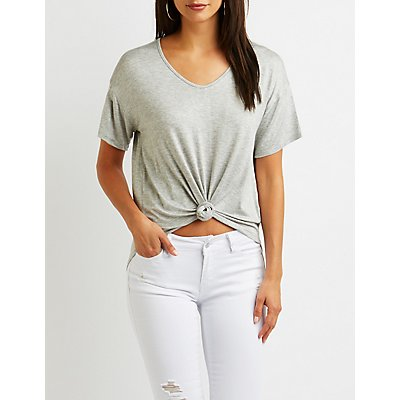 V-Neck Knotted Boyfriend Tee