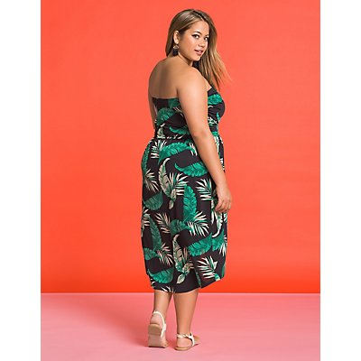 Plus Size Tropical Wrap Dress
