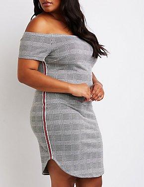 Plus Size Plaid Off The Shoulder Bodycon Dress