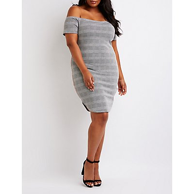Plus Size Plaid Off The Shoulder Bodycon Dress