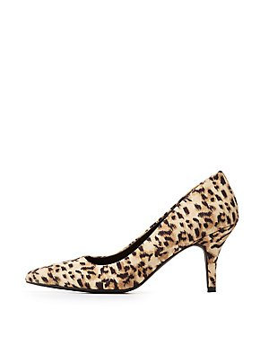 Qupid Leopard Pointed Toe Pumps