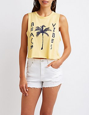 Beach Vibes Graphic Muscle Tee