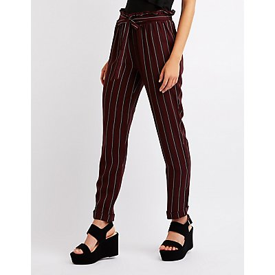 Striped Tie Front Trousers