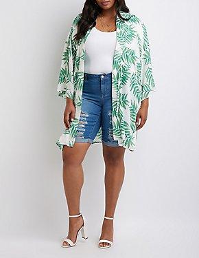 Plus Size Tropical Print Tunic