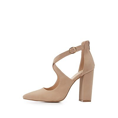Pink suedette 'Cuff' mid stiletto heel pointed shoes