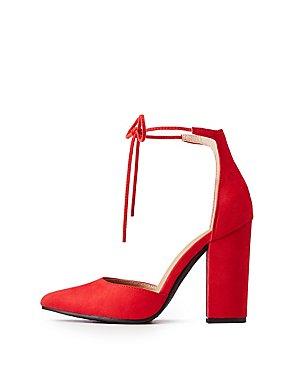 Faux Suede Ankle Tie Sandals