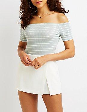 Striped Off The Shoulder Bodysuit