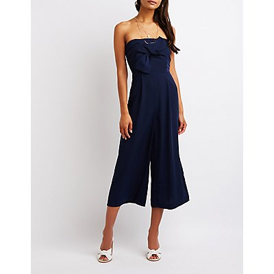 Strapless Bow Culotte Jumpsuit
