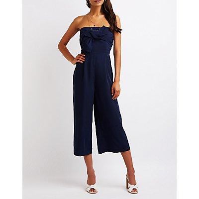 Strapless Bow Culotte Jumpsuit