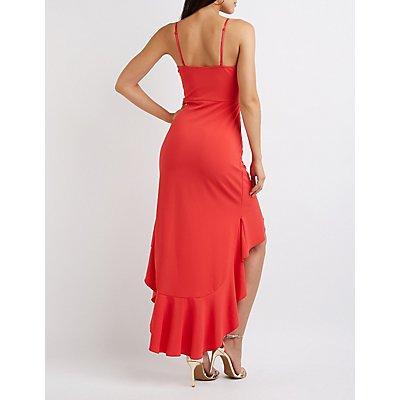 Ruffle Trim High Low Midi Dress
