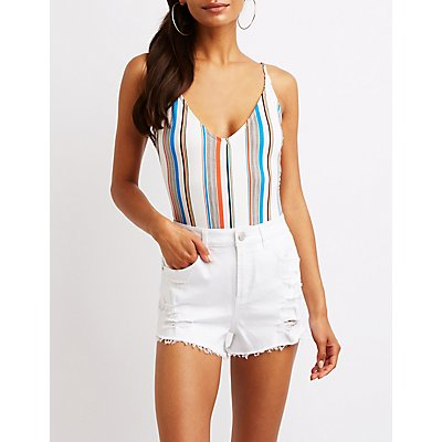 Striped Open Back Bodysuit